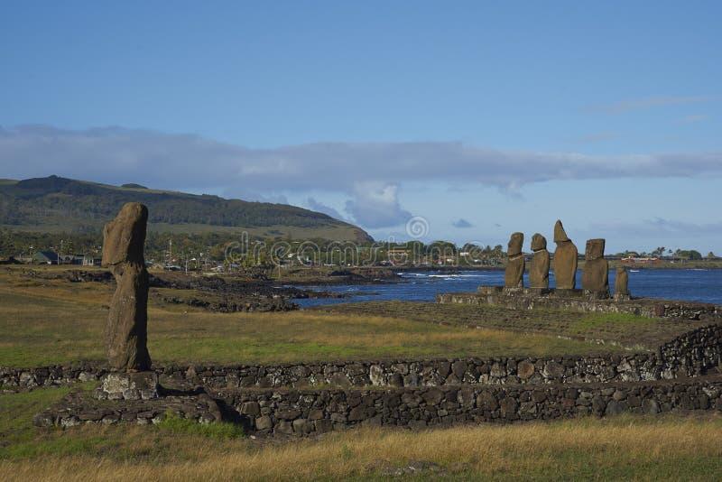 Moai statyer, påskö, Chile royaltyfri foto