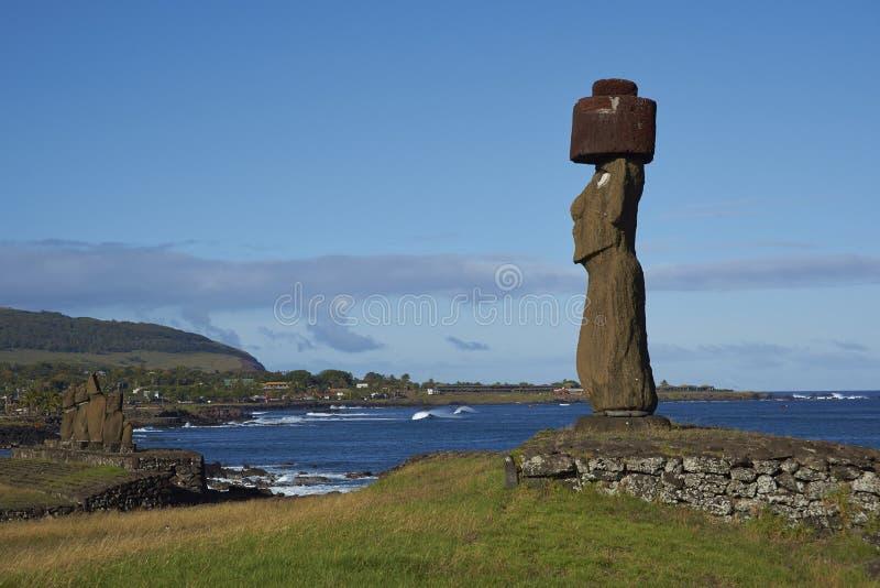 Moai statyer, påskö, Chile royaltyfria bilder