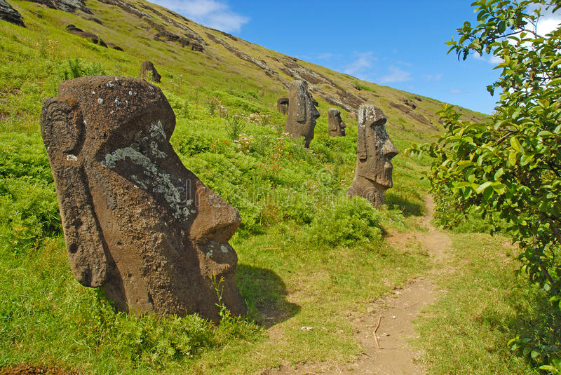 Moai Stone Statues at Rapa Nui - Easter Island. Polynesia, Chile stock photos