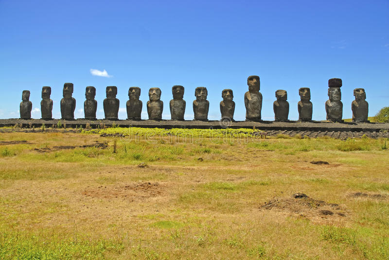 Moai Stone Statues at Rapa Nui - Easter Island. Polynesia, Chile royalty free stock images