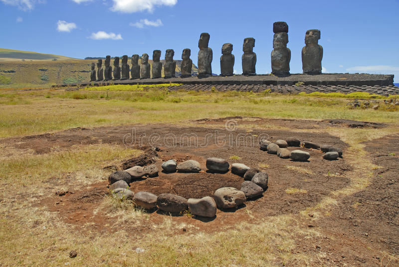 Moai Stone Statues at Rapa Nui. Easter Island, Polynesia, Chile stock photography