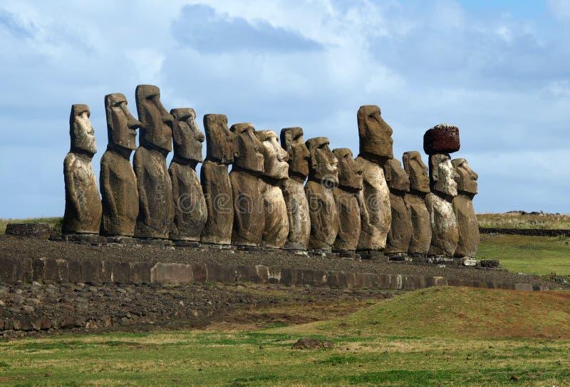 Moai sur l'île de Pâques photos stock