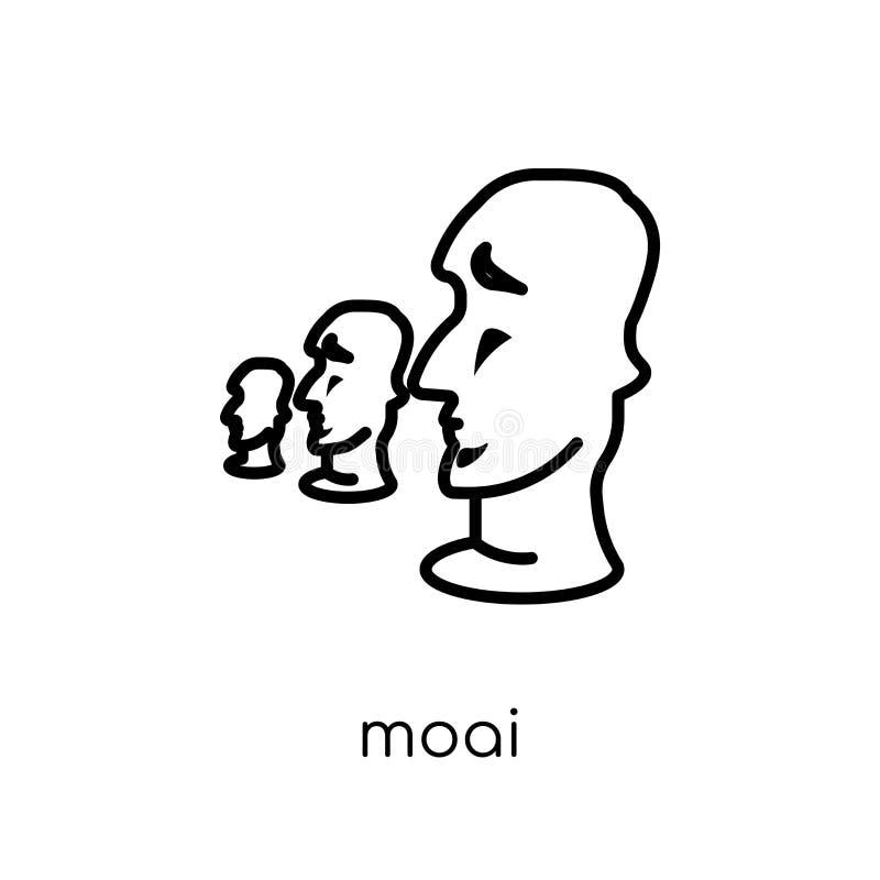Moaipictogram In modern vlak lineair vectormoai-pictogram op witte B vector illustratie