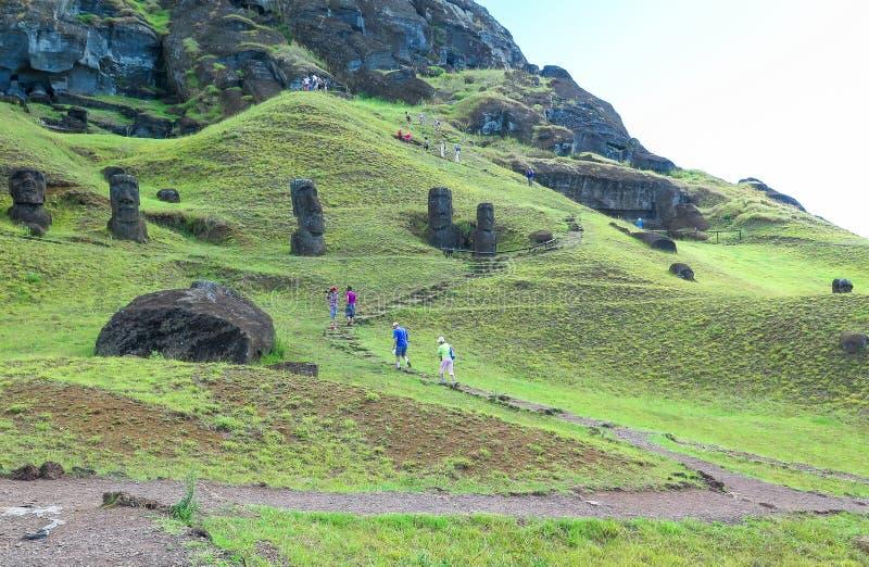 Moairuïnes in Pasen-Eiland, Chili royalty-vrije stock fotografie