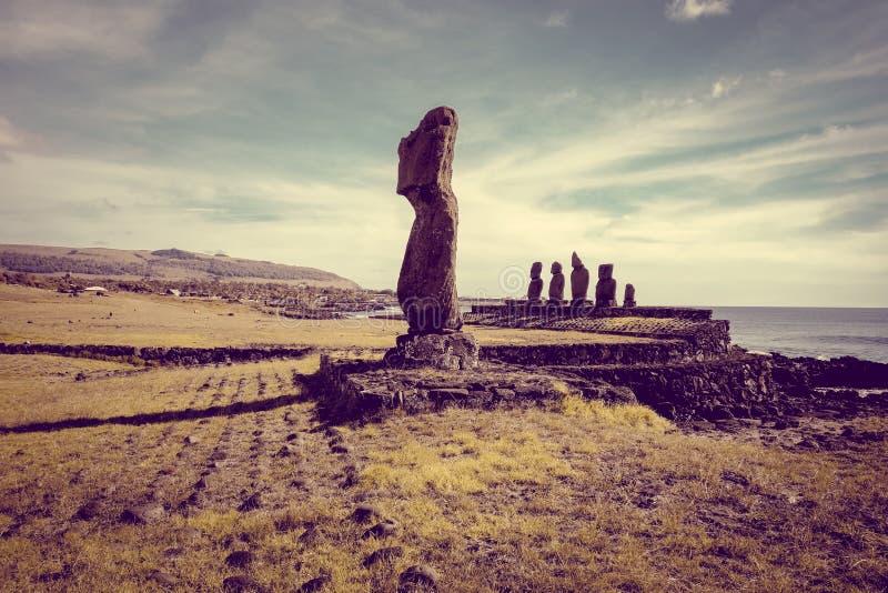 Moais雕象, ahu tahai,复活节岛 图库摄影