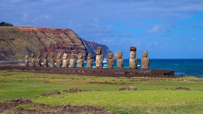 Moais σε Ahu Tongariki, νησί Πάσχας, Χιλή στοκ φωτογραφίες με δικαίωμα ελεύθερης χρήσης