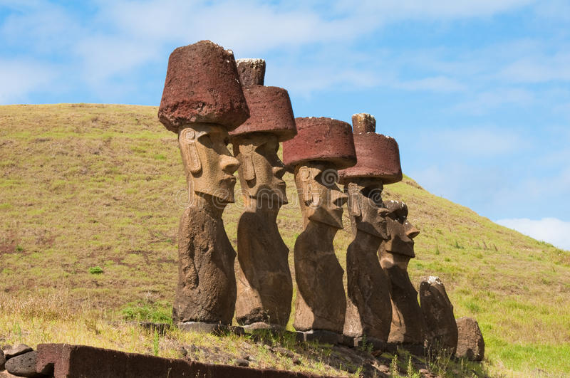 Moais. In Anakena beach, Easter island royalty free stock image