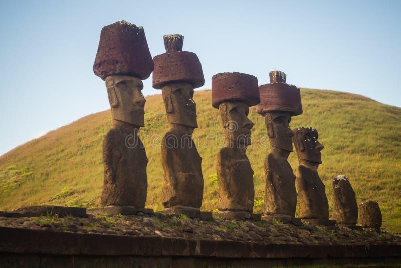 Moais of Ahu Nau Nau in Anakena beach in Easter Island, Chile stock photography
