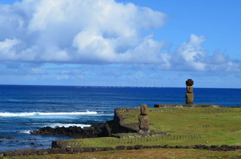 Moais at Ahu Tahai ceremonial complex near Hanga Roa, Rapa Nui Easter Island royalty free stock images