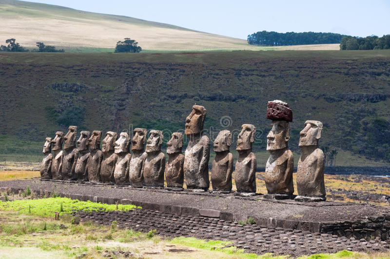 Moais in Ahu Tongariki. Easter island royalty free stock photography