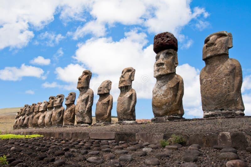 Moais in Ahu Tongariki. Easter island royalty free stock photos