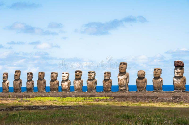 Moais in Ahu Tongariki royalty free stock photo
