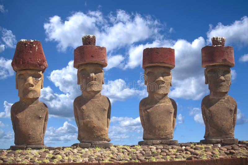 Moais at Ahu Tongariki royalty free stock photography