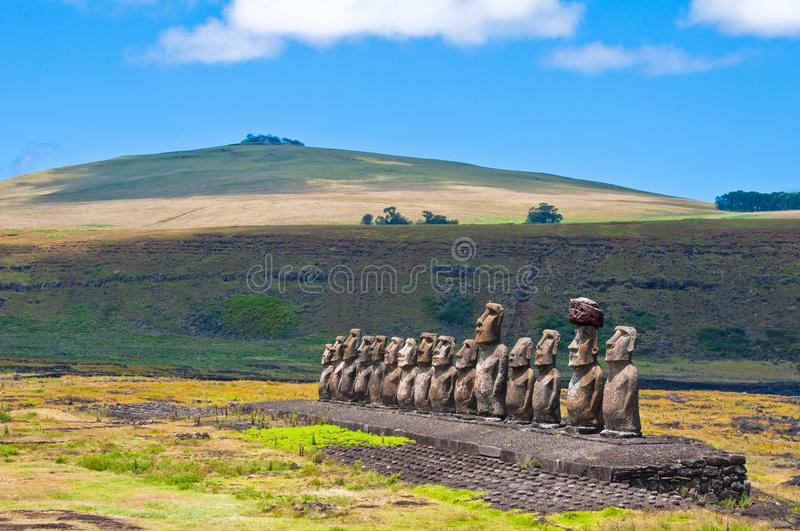 Moais in Ahu Tongariki, Easter island, Chile stock image