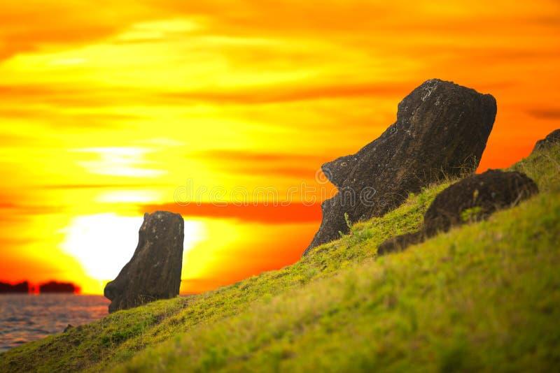 Moais at Ahu Tongariki. (Easter island, Chile stock image