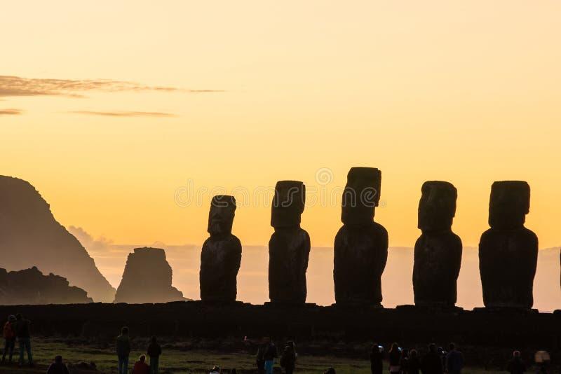 Moais at Ahu Tongariki in Easter island stock photos