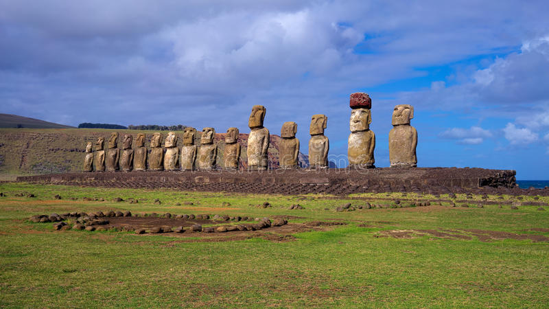 Moais on Ahu Tongariki, Easter Island, Chile stock photo