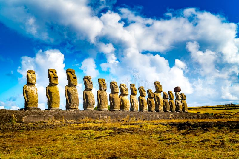 The 15 Moais at Ahu Tongariki in Rapa Nui National Park on Easter Island royalty free stock images