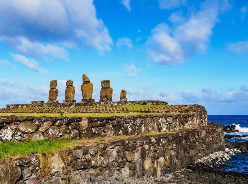 Moais on Easter Island, Chile. Moais in Ahu Vai Uri, Tahai Archaeological Complex, Rapa Nui National Park, Easter Island, Chile stock photos