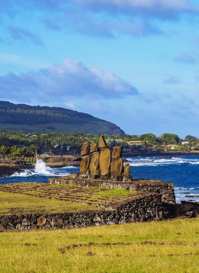 Moais on Easter Island, Chile. Moais in Ahu Vai Uri, Tahai Archaeological Complex, Rapa Nui National Park, Easter Island, Chile royalty free stock photography