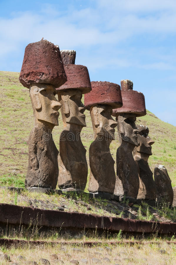 Moais in Anakena beach, Easter island. (Chile stock images
