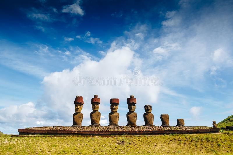 Moais at Anakena beach in Easter Island royalty free stock photo
