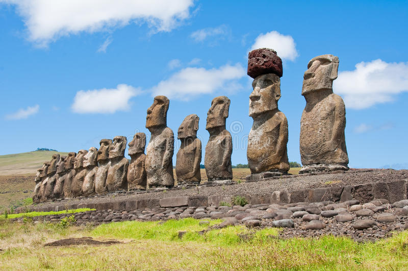 Moais in Easter Island. Moais in Ahu Tongariki, Easter Island stock photography