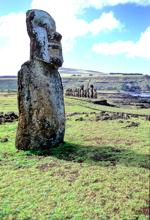 Moais- Easter Island. Moais at Ahu Tongariki- Easter Island, Chile stock photos