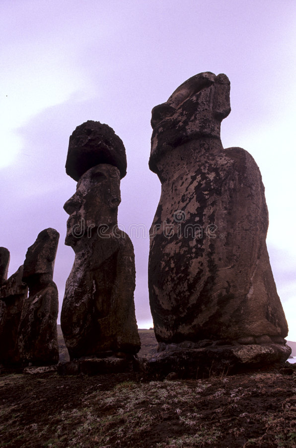 Moais- Easter Island, Chile. Moais of Ahu Tongariki on the SE coast of the UNESCO World Heritage site island, restored in 1992 by Japanese company- Easter Island stock photo
