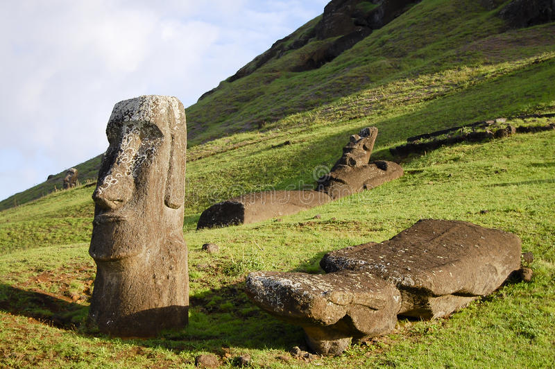 Moais - Easter Island. Moais on Easter Island - Chile stock image