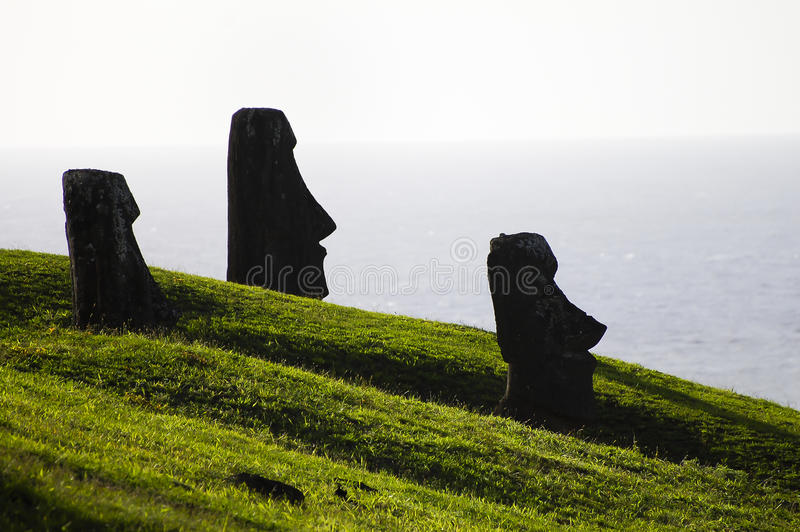 Moais - Easter Island. Moais on Easter Island - Chile stock photo