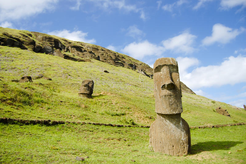 Moais - Easter Island. Moais in Easter Island - Chile royalty free stock photos
