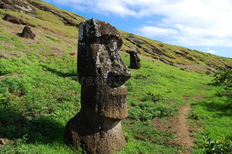 Moais - Easter Island. Moais on Easter Island - Chile stock photos