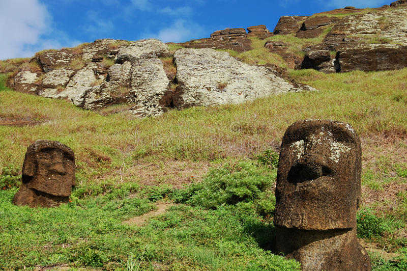 Moais - Easter Island. Moais on Easter Island - Chile royalty free stock photos