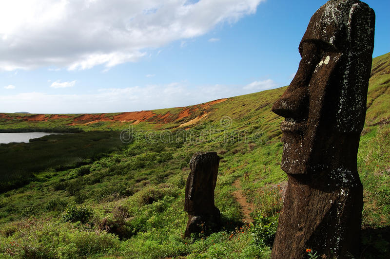 Moais - Easter Island. Moais on Easter Island - Chile stock photography