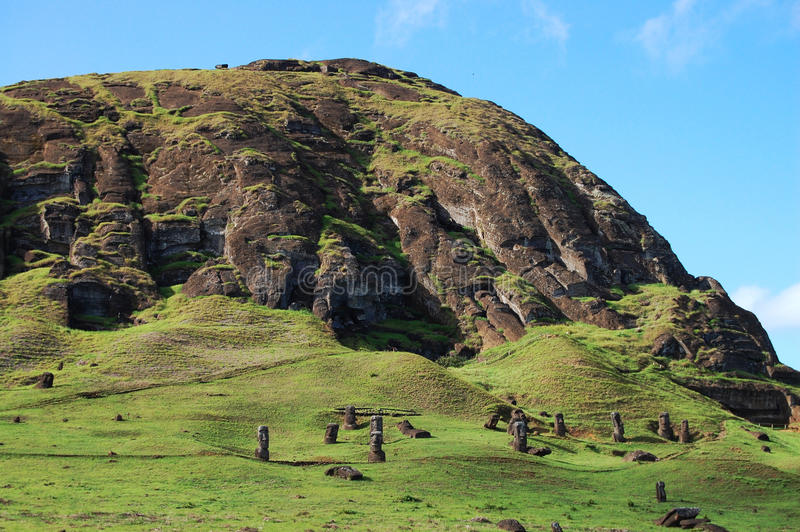 Moais - Easter Island. Moais on Easter Island - Chile royalty free stock image