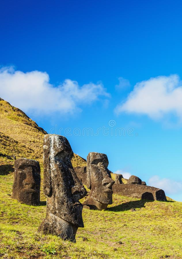 Moais on Easter Island, Chile. Moais at the quarry on the slope of the Rano Raraku Volcano, Rapa Nui National Park, Easter Island, Chile royalty free stock photo