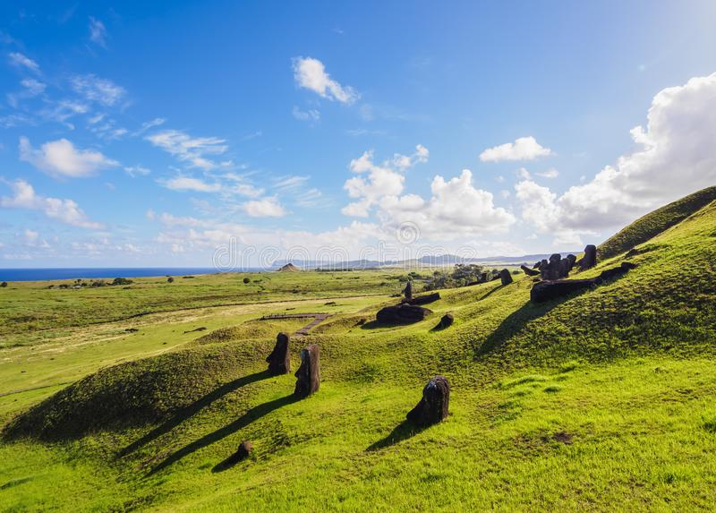 Moais on Easter Island, Chile stock images