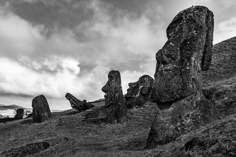 Moais at Easter Island. Rapa Nui - August 2017. Such a penetrating gaze from the moais royalty free stock images