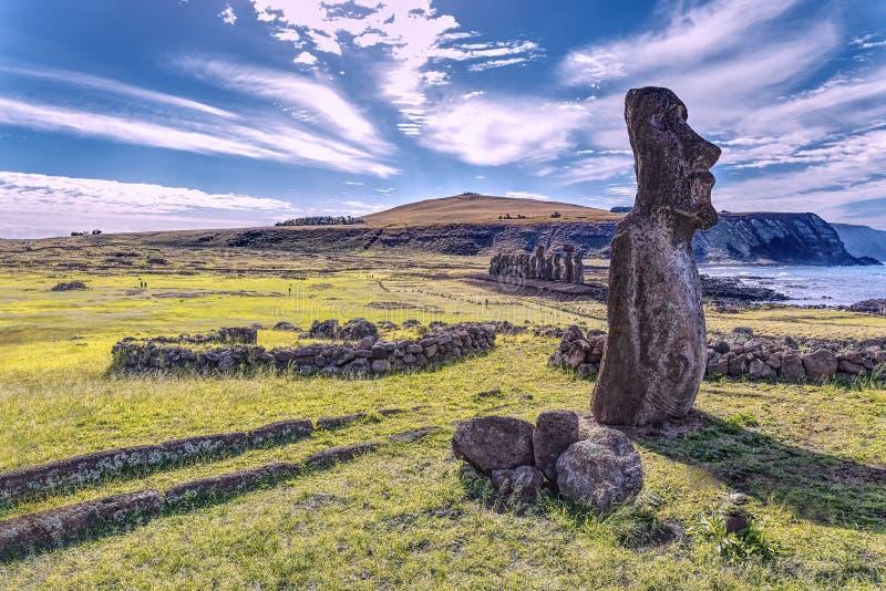 Moais in het Eiland Chili van Ahu Tongariki Pasen stock foto's