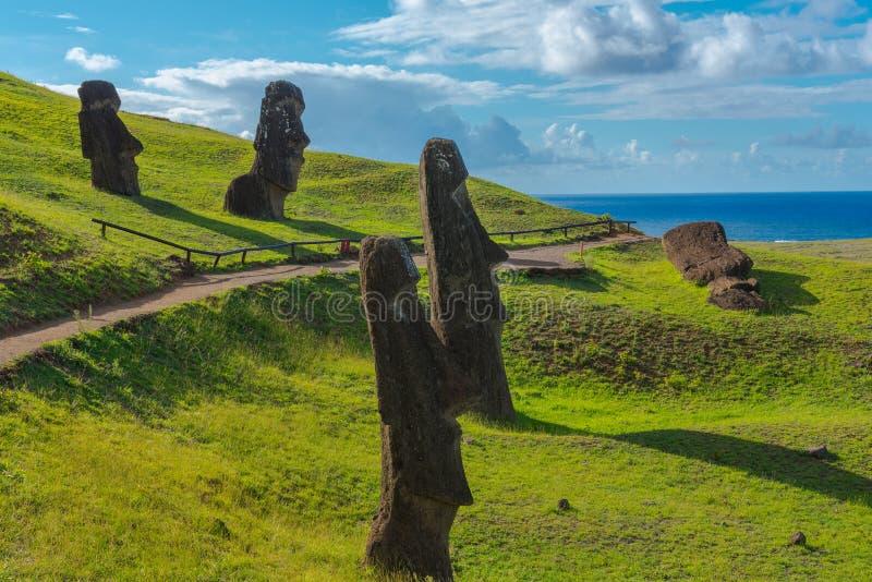Moais na Ilha de Páscoa fotografia de stock royalty free