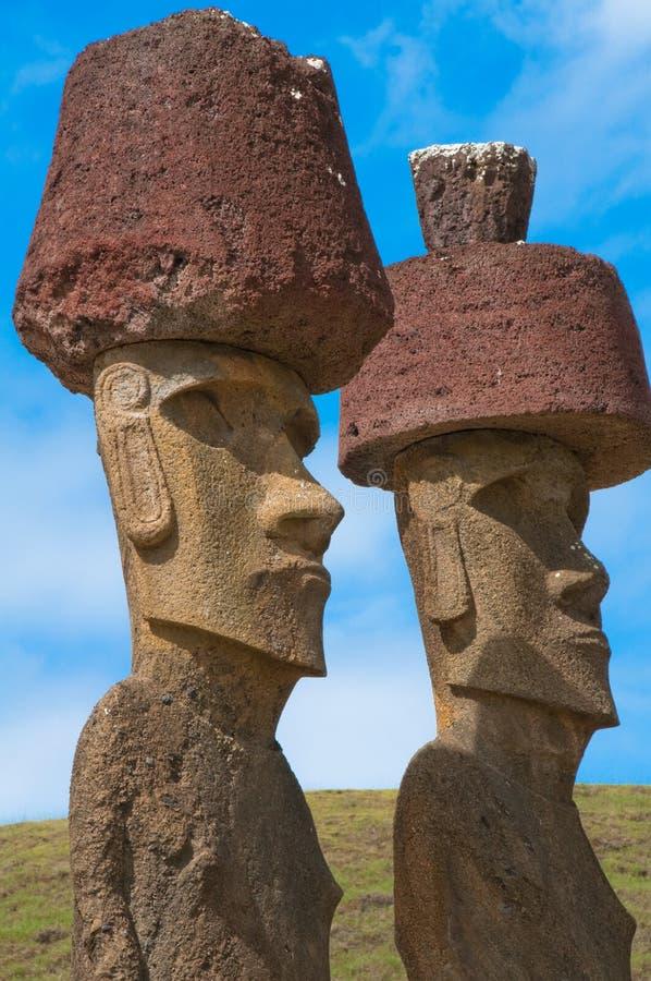 Moais near Anakena beach (Chile)). Moais near Anakena beach, Easter island (Chile royalty free stock image
