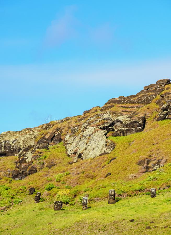 Moais on Easter Island, Chile royalty free stock photo