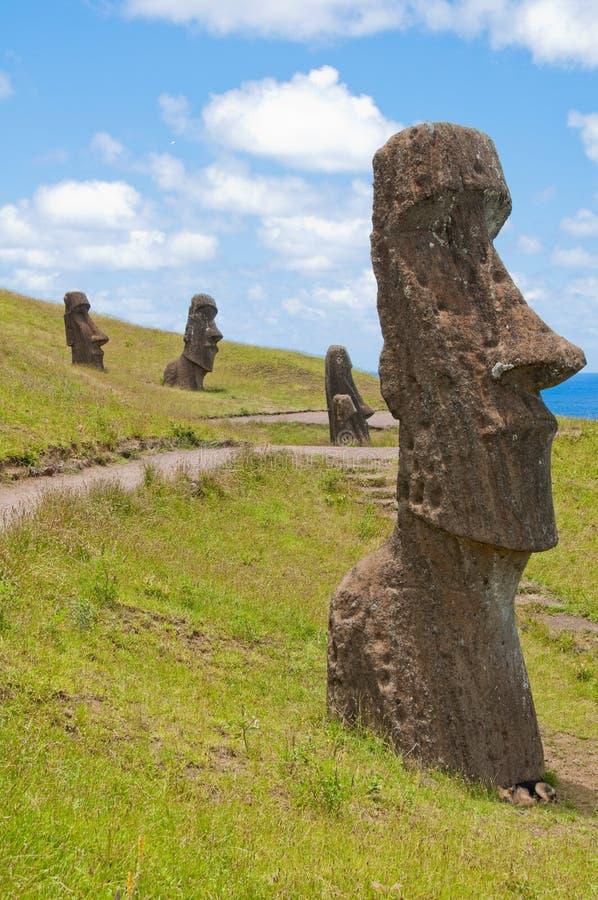 Moais at Rano Raraku, Easter island (Chile) royalty free stock photo