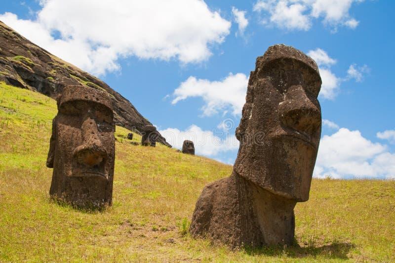 Moais at Rano Raraku volcano, Easter island. (Chile royalty free stock photography