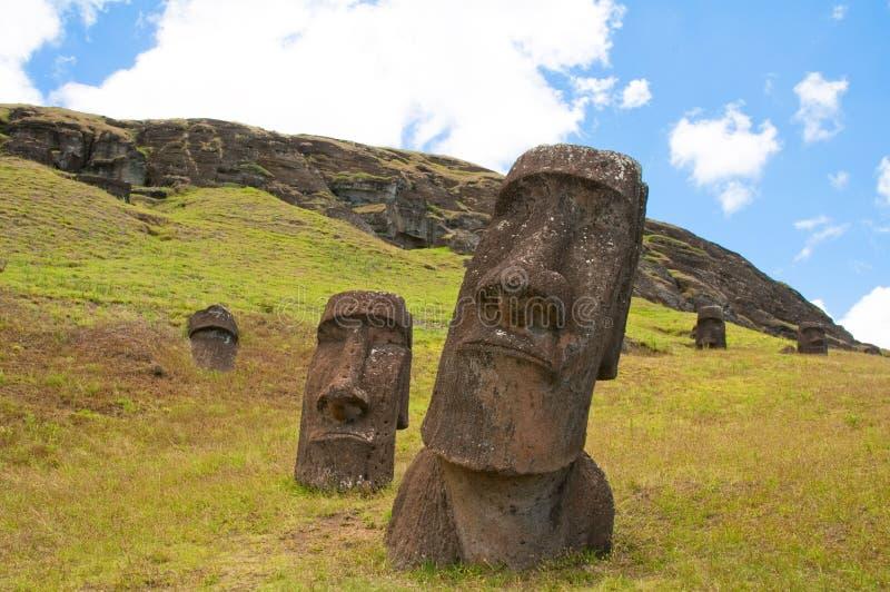 Moais at Rano Raraku volcano, Easter island. (Chile stock photography