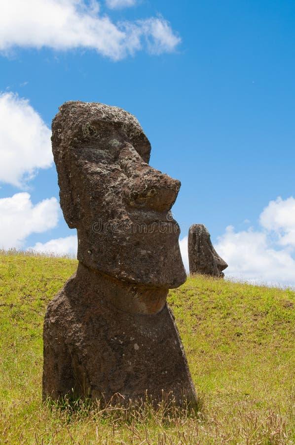 Moais at Rano Raraku volcano, Easter island royalty free stock image
