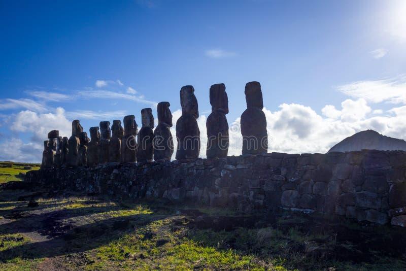 Moais statues, ahu Tongariki, easter island. Chile stock images