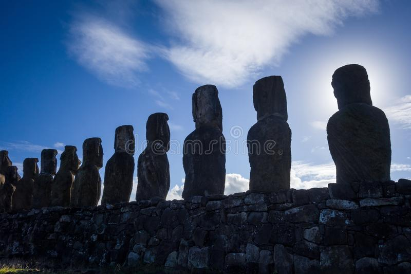 Moais statues, ahu Tongariki, easter island. Chile stock photo