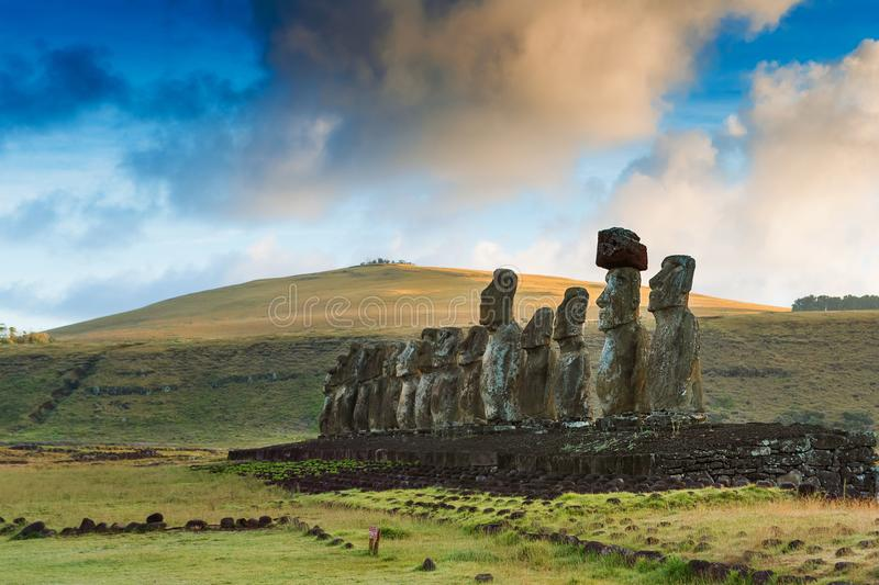 Moais statues on Ahu Tongariki - the largest ahu on Easter Island. Chile. Moais statues on Ahu Tongariki - the largest ahu on Easter Island. Rapa Nui National royalty free stock images
